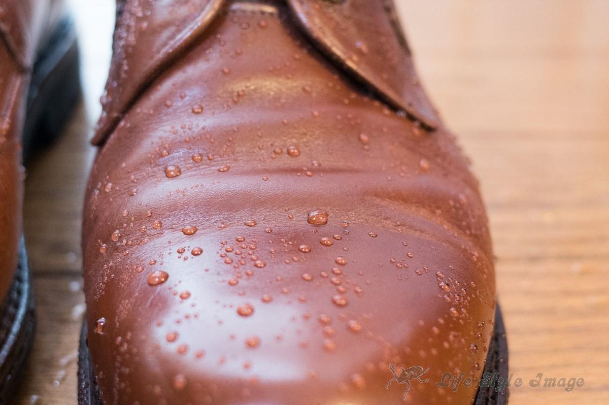 某社の撥水スプレーを吹き付けた三交製靴ラギッドシューズ