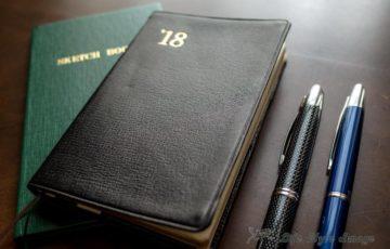 能率手帳と測量野帳と万年筆と。